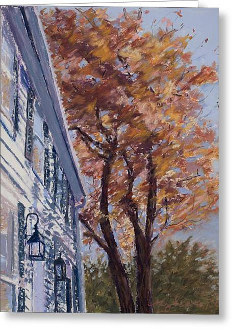 Red Buildings Pastels Greeting Cards - New England Autumn Greeting Card by Mary Benke