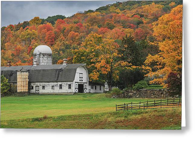Old Barns Greeting Cards - New England Barn Autumn Greeting Card by Bill  Wakeley