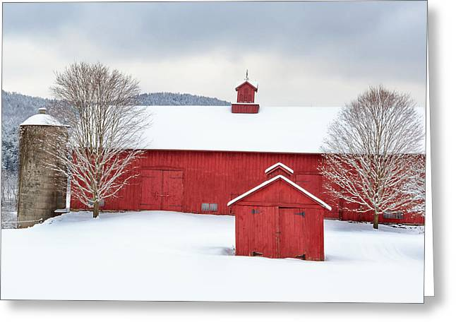Winter Scenes Rural Scenes Greeting Cards - New England Barns Square Greeting Card by Bill  Wakeley
