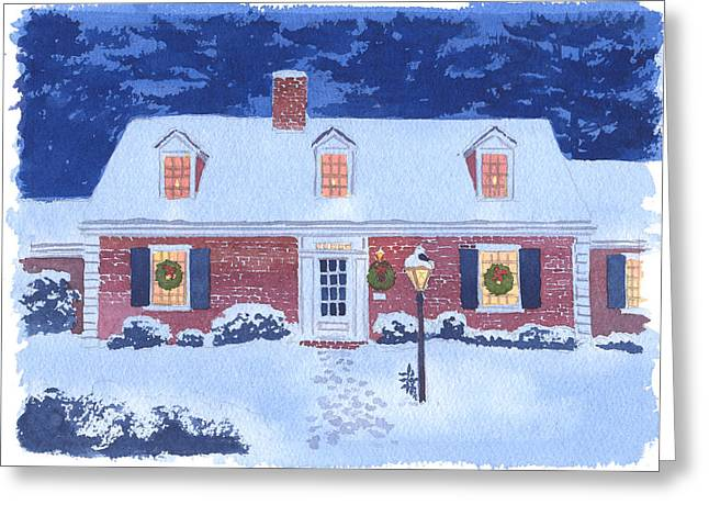 New England Snow Scene Greeting Cards - New England Christmas Greeting Card by Mary Helmreich