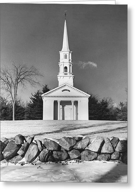 New England Church Greeting Card by Underwood Archives