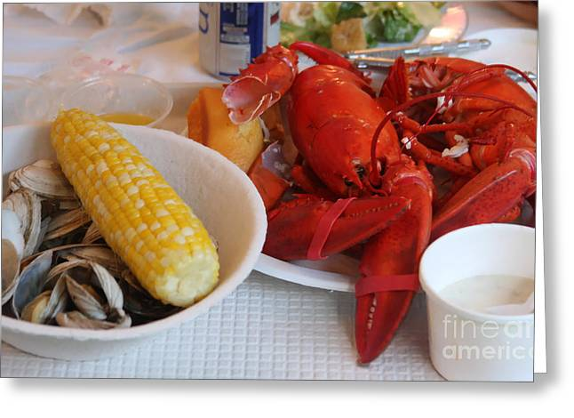 Clam Chowder Greeting Cards - New England Clambake Greeting Card by Jayne Carney