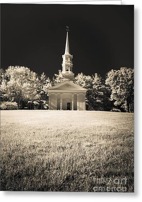Sudbury Greeting Cards - New England Classic church infrared Greeting Card by Edward Fielding