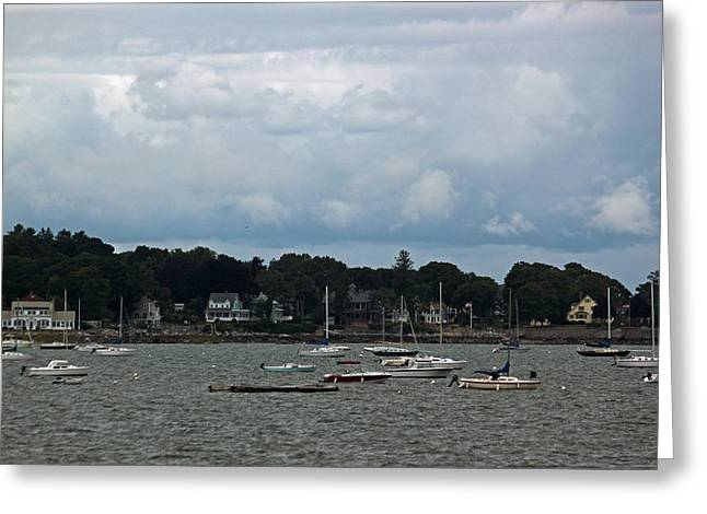 New England Village Greeting Cards - New England Coastal Village Greeting Card by Suzanne Gaff