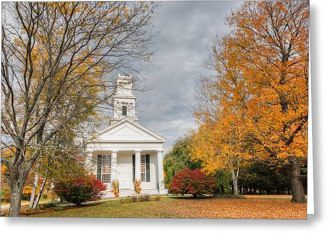 Autumn In The Country Greeting Cards - New England Country Church Greeting Card by Bill  Wakeley