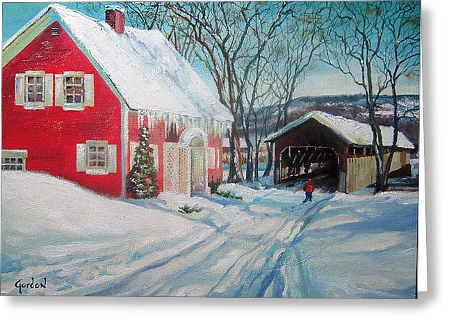 Toll House Greeting Cards - New England Covered Bridge Greeting Card by Brett Gordon