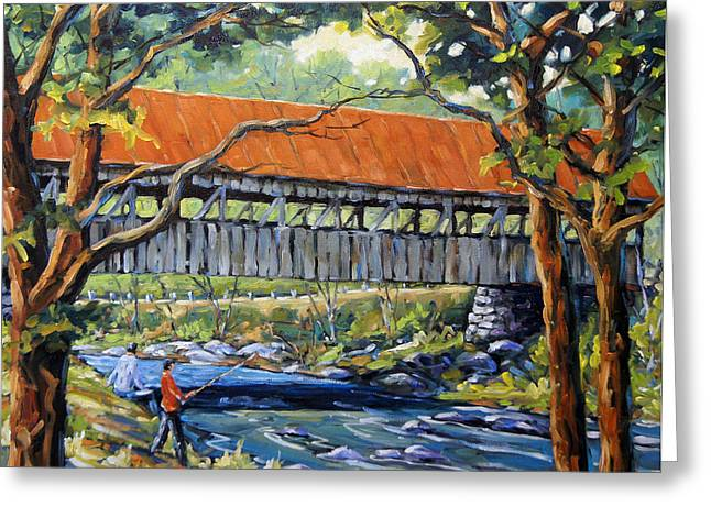 Canadian Rural Scene Created By Richard T Pranke Greeting Cards - New England Covered Bridge by Prankearts Greeting Card by Richard T Pranke