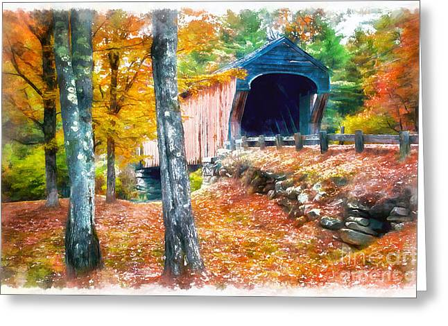 New England Foliage Greeting Cards - New England Covered Bridge Greeting Card by Edward Fielding