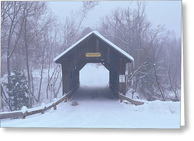 New England Covered Bridge In Winter Greeting Card by Panoramic Images