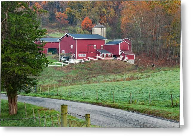 Old Country Roads Greeting Cards - New England Farm Square Greeting Card by Bill  Wakeley