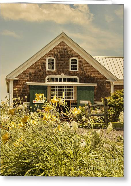 Orchard Greeting Cards - New England Farmhouse Greeting Card by Juli Scalzi