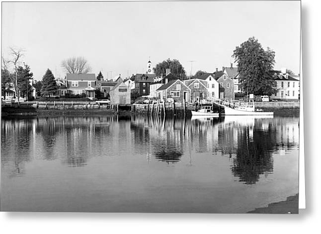 New England Village Greeting Cards - New England Fishing Village Greeting Card by Henri Bersoux