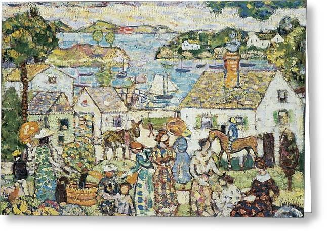 Post-impressionism Greeting Cards - New England Harbour, C.1919-23 Oil On Canvas Greeting Card by Maurice Brazil Prendergast