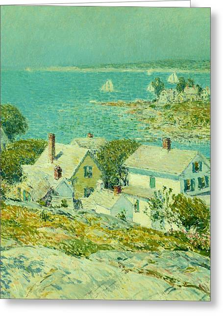 Historic Ship Greeting Cards - New England Headlands  Greeting Card by Childe Hassam