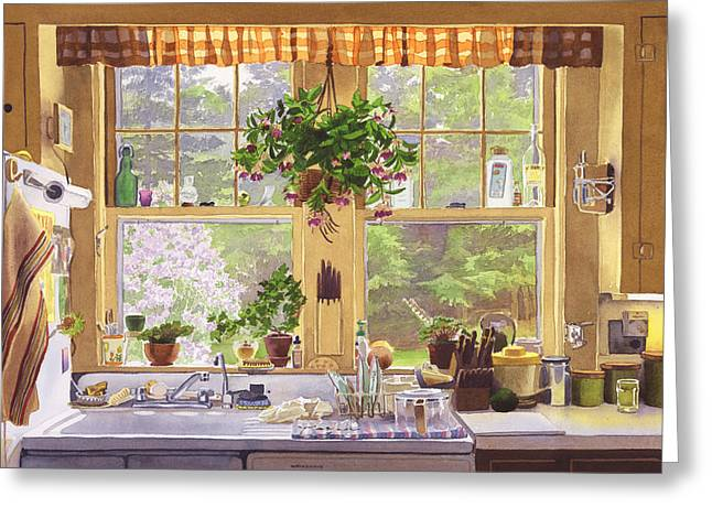 New England Kitchen Window Greeting Card by Mary Helmreich