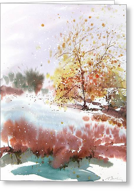 Millbury Greeting Cards - New England Landscape No.219 Greeting Card by Sumiyo Toribe