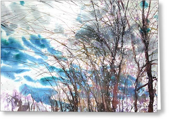 Storibeart Greeting Cards - New England Landscape No.221 Greeting Card by Sumiyo Toribe