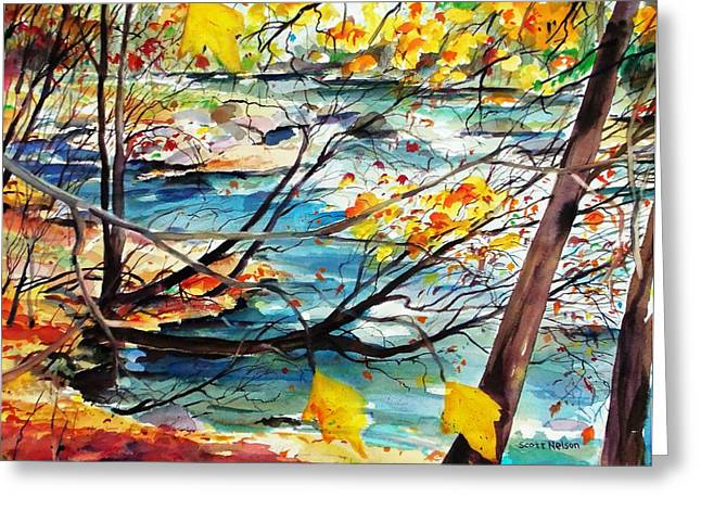 Millbury Greeting Cards - New England Leaves Along The River Greeting Card by Scott Nelson