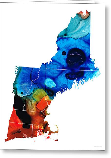New Hampshire Greeting Cards - New England - Map by Sharon Cummings Greeting Card by Sharon Cummings