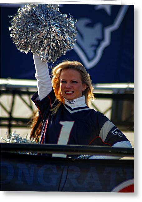 Foxboro Greeting Cards - New England Patriot Cheerleader Greeting Card by Mike Martin