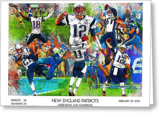 National Football League Paintings Greeting Cards - New England Patriots Champions 2015 Greeting Card by John Farr