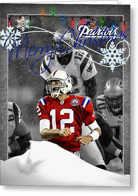 New England Patriots Christmas Card Greeting Card by Joe Hamilton