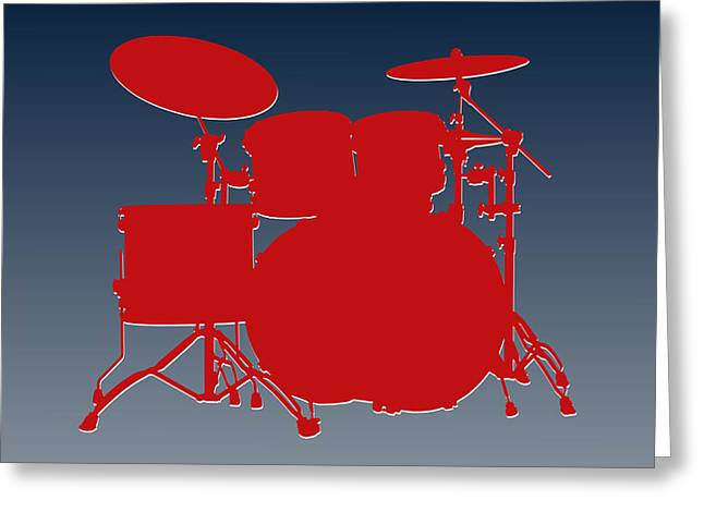 Drum Greeting Cards - New England Patriots Drum Set Greeting Card by Joe Hamilton