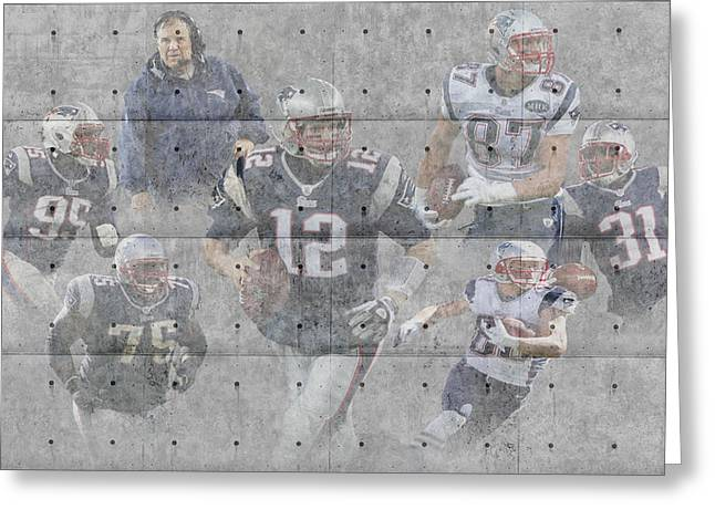 Patriot Greeting Cards Greeting Cards - New England Patriots Team Greeting Card by Joe Hamilton