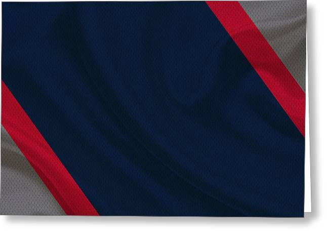 Patriots Greeting Cards - New England Patriots Uniform Greeting Card by Joe Hamilton