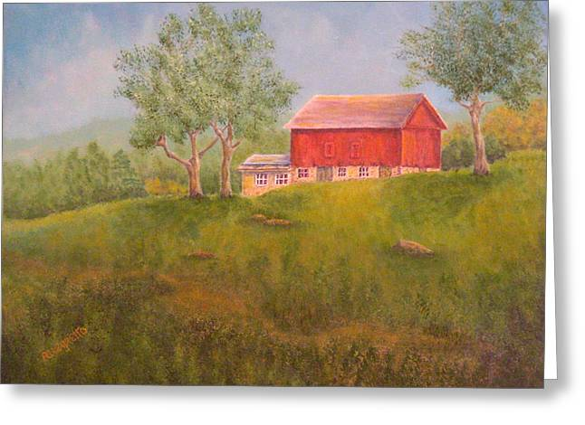 East Hampton Paintings Greeting Cards - New England Red Barn At Sunrise Greeting Card by Pamela Allegretto