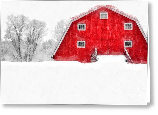 Dairy Cows Greeting Cards - New England Red Barn in Winter Snow Storm Watercolor Greeting Card by Edward Fielding