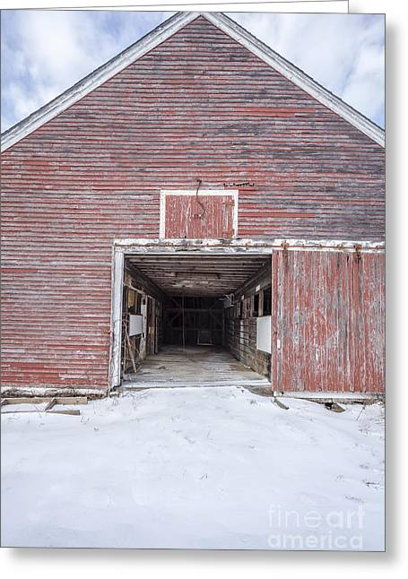 Dairy Barn Greeting Cards - New England Red Barn Open Door Greeting Card by Edward Fielding