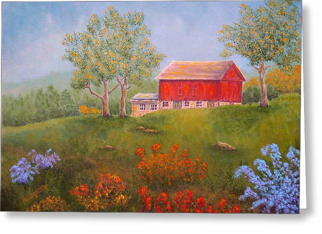 East Hampton Paintings Greeting Cards - New England Red Barn Summer Greeting Card by Pamela Allegretto