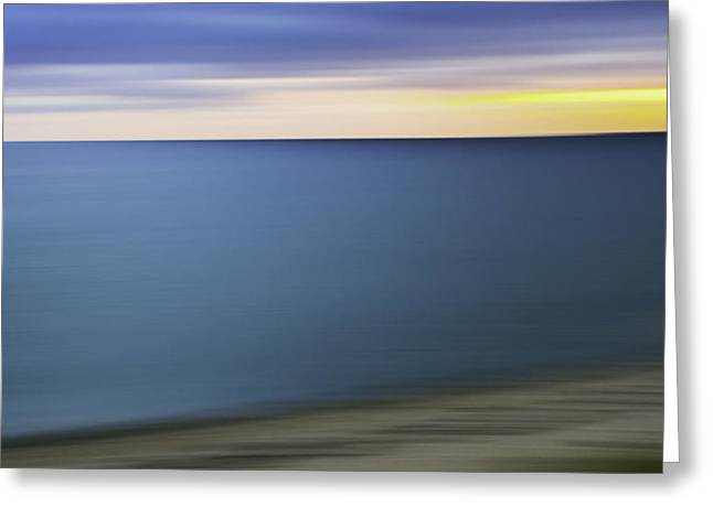 Cool Tones Greeting Cards - New England Seascape Abstract Greeting Card by Thomas Schoeller