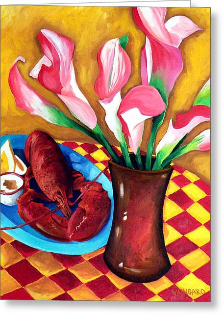 Checked Tablecloths Paintings Greeting Cards - New England Summer Greeting Card by Marley Ungaro