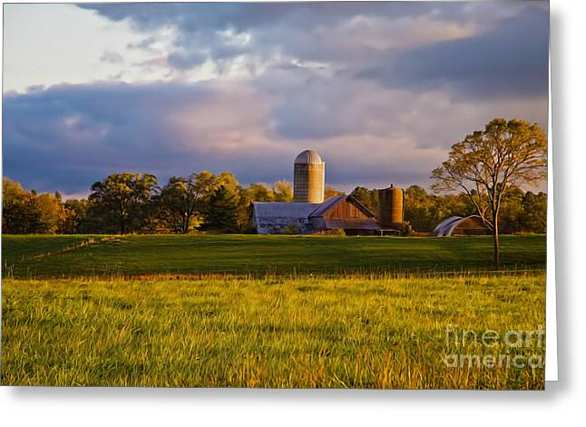 Tin Roof Mixed Media Greeting Cards - New England Sunrise Painted Barns Silos Stormy  Greeting Card by Sherry  Curry