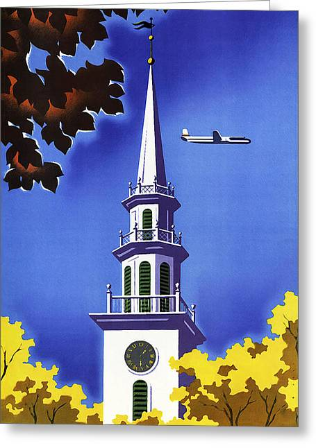 United Air Greeting Cards - New England United Air Lines Greeting Card by Mark Rogan