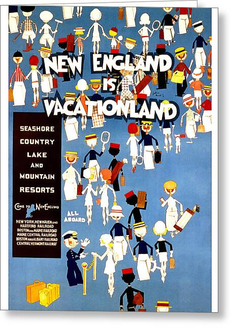 Vacationland Greeting Cards - New England Vacationland Greeting Card by David Wagner