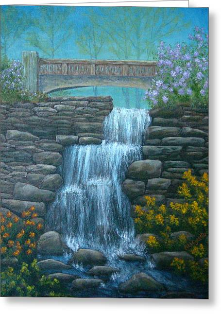 East Hampton Paintings Greeting Cards - New England Waterfall Greeting Card by Pamela Allegretto