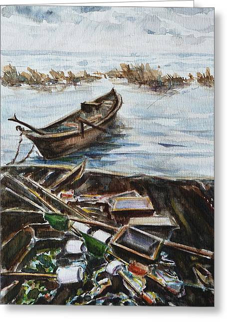 Maine Shore Greeting Cards - New England Wharf Greeting Card by Xueling Zou