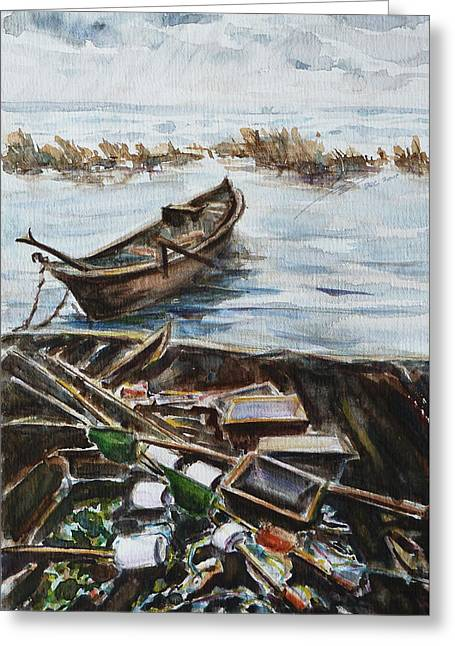 Maine Icons Greeting Cards - New England Wharf Greeting Card by Xueling Zou