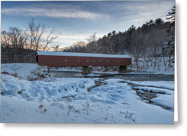 New England Winter Greeting Cards - New England Winter Covered Bridge Greeting Card by Bill  Wakeley
