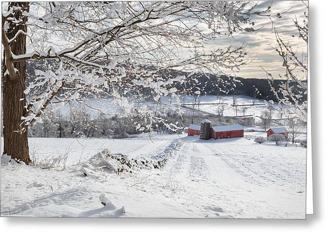 New England Winter Farms Greeting Card by Bill Wakeley