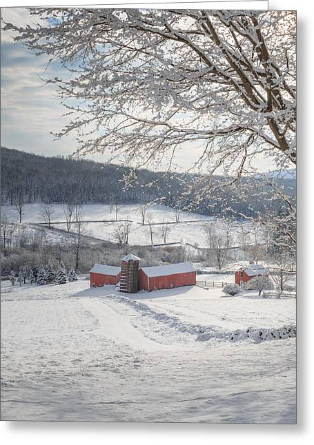Red Barn In Winter Greeting Cards - New England Winter Farms Morning Square Greeting Card by Bill  Wakeley