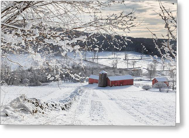 Old Barns Greeting Cards - New England Winter Farms Square Greeting Card by Bill  Wakeley