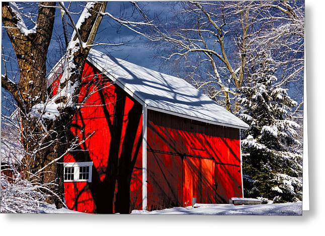 Snow On Barn Greeting Cards - New England Winter Greeting Card by Karol  Livote
