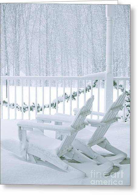 Front Porches Greeting Cards - New England Winter Porch Greeting Card by Diane Diederich