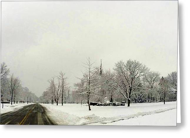 New England Snow Scene Greeting Cards - New England Winter Scene Greeting Card by Erik Kaplan