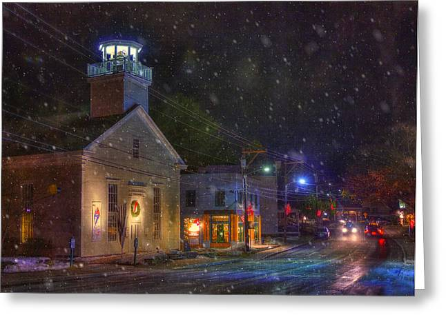 New England Snow Scene Greeting Cards - New England Winter - Stowe Vermont Greeting Card by Joann Vitali