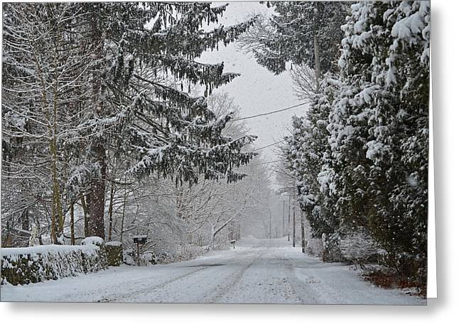 Snowstorm Digital Art Greeting Cards - New England Winter Street Greeting Card by Toby McGuire